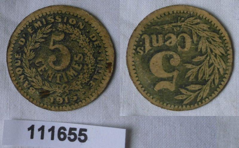 Banknote Frankreich 5 Centimes Banque D´Emission de Lille 1915 (111655)