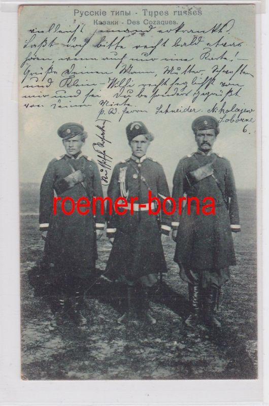85377 Ak Russische Typen, Kosaken in Uniformen 1907