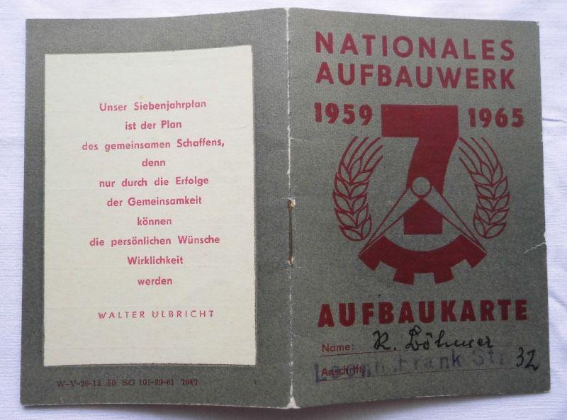 Seltene DDR Aufbaukarte Nationales Aufbauwerk Suhl 1965 (109648)