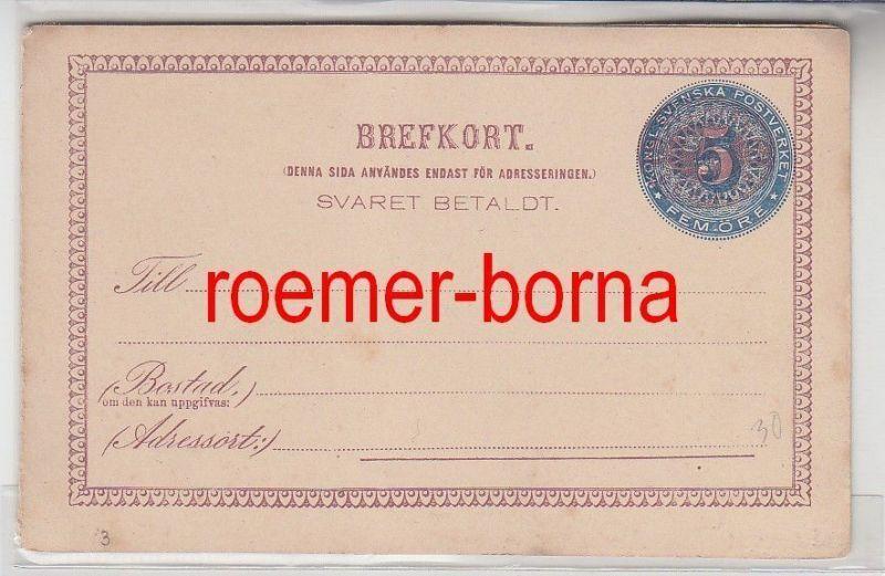 57133 seltene Ganzsachen Antwortpostkarte Schweden 5 Öre vor 1900