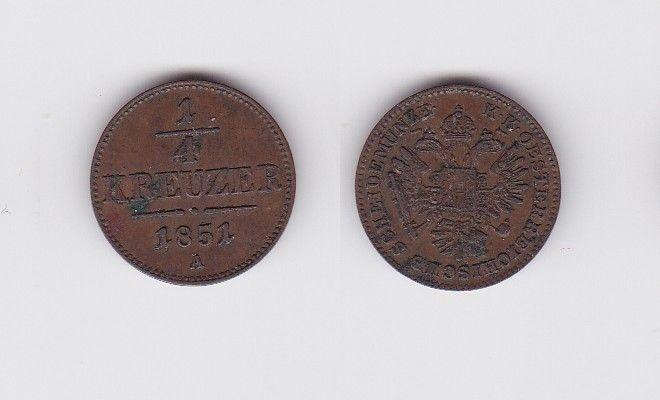 1/4 Kreuzer Kupfer Münze Österreich 1851 A (122948)