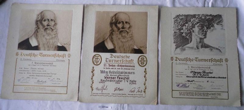 3 Urkunden Deutsche Turnerschaft im Schwimmen Halle a.S. 1930-33 (117064)