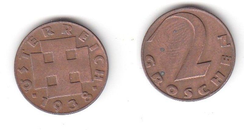 2 Groschen Kupfer Münze Österreich 1938 (114925)