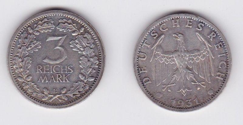3 Mark Silber Münze Weimarer Republik Kursmünze 1931 E Jäger 349 (124418)
