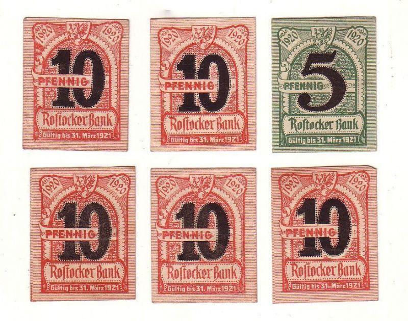 6 Banknoten Notgeld Rostocker Bank 1920 (117025)