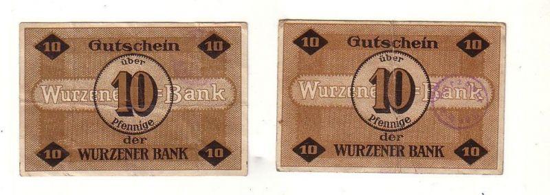 2 Banknoten 10 Pfennig Notgeld Wurzner Bank 1.März 1917 (115120)