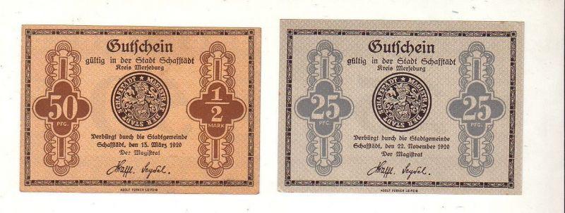 2 Banknoten 25 und 50 Pfennig Notgeld Stadt Schafstädt 1920 (113115)