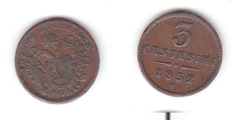 3 Centesimi Kupfer Münze Österreich 1852 V (115600)