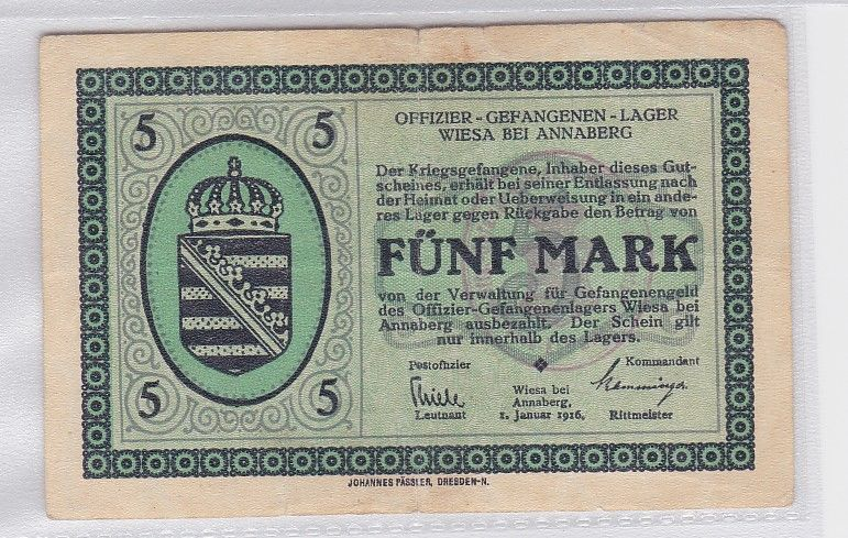5 Mark Banknote Offizier Gefangenenlager Wiesa bei Annaberg 1916 (118879)