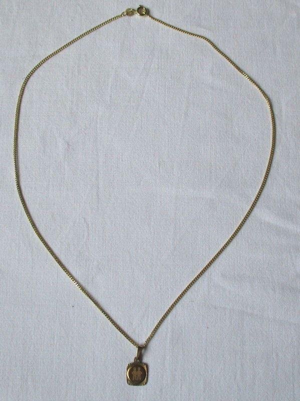 Charmante Kette aus 333er Gold mit Sternzeichen Anhänger Zwilling (123317)