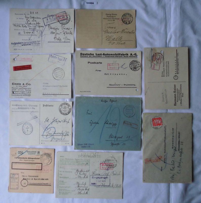 10 interessante Briefe mit Stempel Nachgebühr bzw. Gebühr bezahlt  (103684)