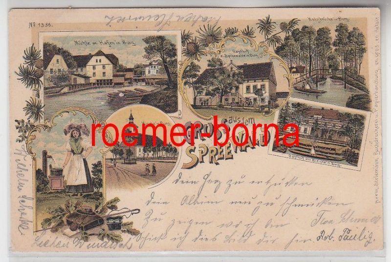 77183 Ak Lithografie Gruss aus dem Spreewald Burg Gasthof usw. 1899