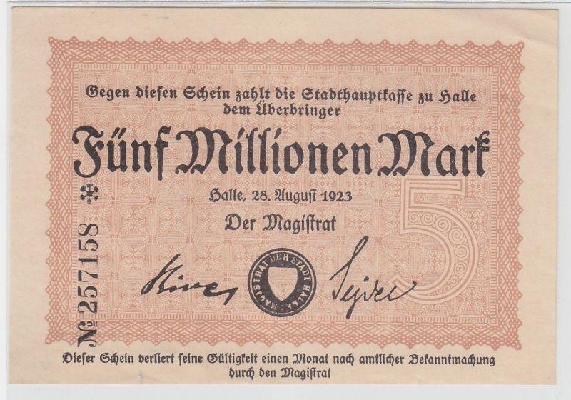 5 Millionen Mark Inflation Banknote Stadthauptkasse Halle 1923 (110955)