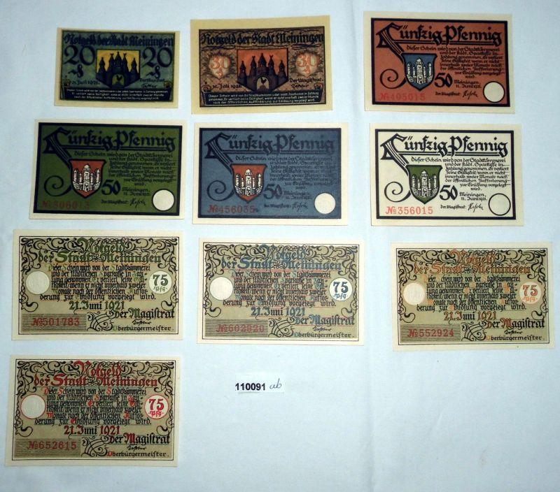 10 Banknoten Notgeld Stadt Meiningen 1921 (110091)