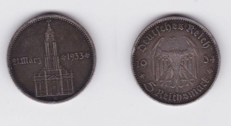5 Mark Silber Münze 3. Reich Garnisonkirche mit Datum 1934 A Jäger 356 (120175)