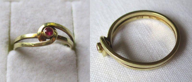 Eleganter Damen Ring aus 585er Gold mit rosarotem Edelstein (123041)