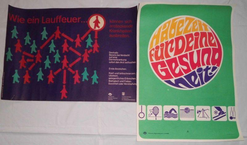 2 seltene DDR Plakate Gesundheitswesen um 1980 (111457)