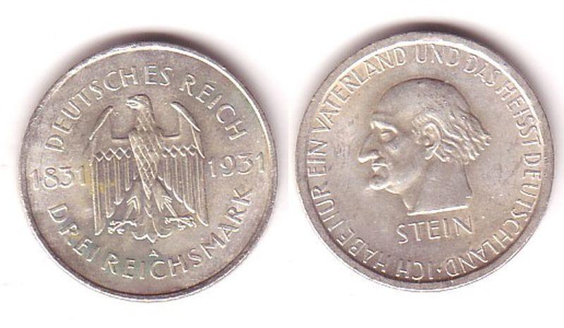 Silbermuenze 3 Mark Freiherr vom Stein 1931 A