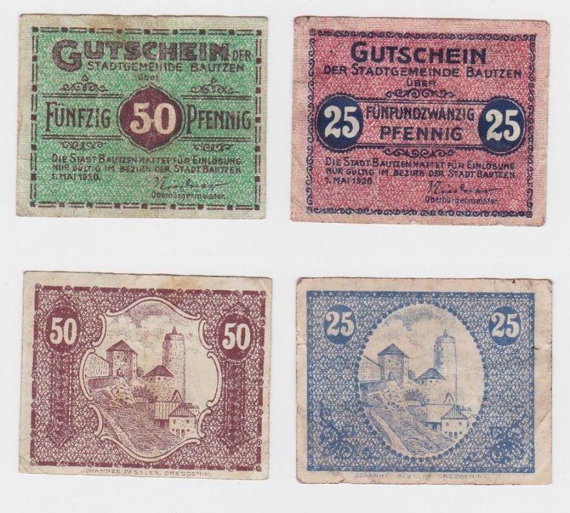 25 & 50 Pfennig Banknote Notgeld Stadtgemeinde Bautzen 1920 (120653)