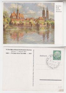 66725 Ak Ganzsache 12. Dt. Sängerbundesfest Breslau 1937 Blick auf die Dominsel