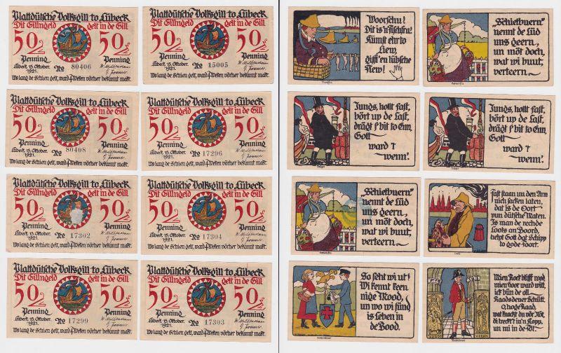 8 Banknoten Notgeld Lübeck Plattdeutsche Volksgilde 15.10.1921 (120464)