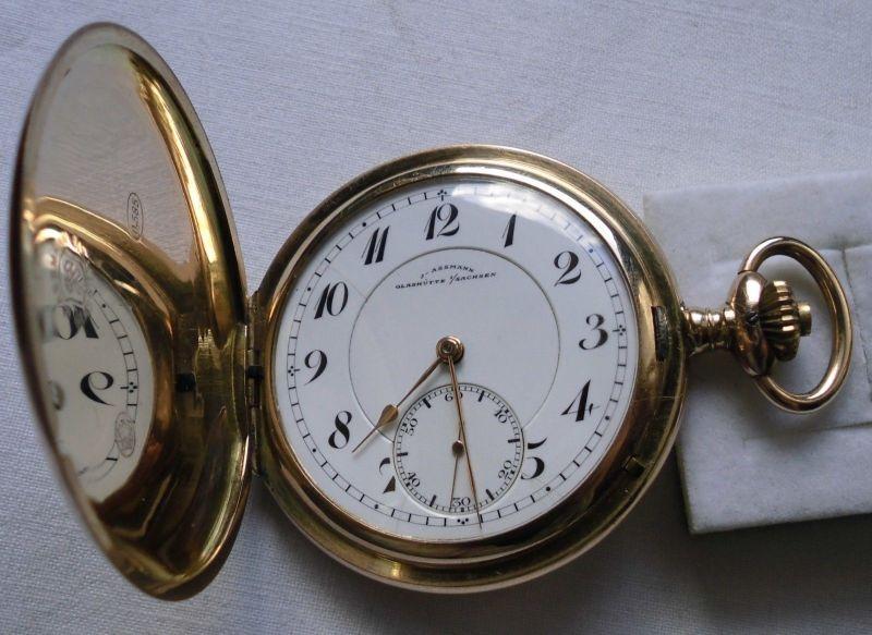 Goldene Taschenuhr J.Assmann Glashütte 585er Gold um 1900 (113306)