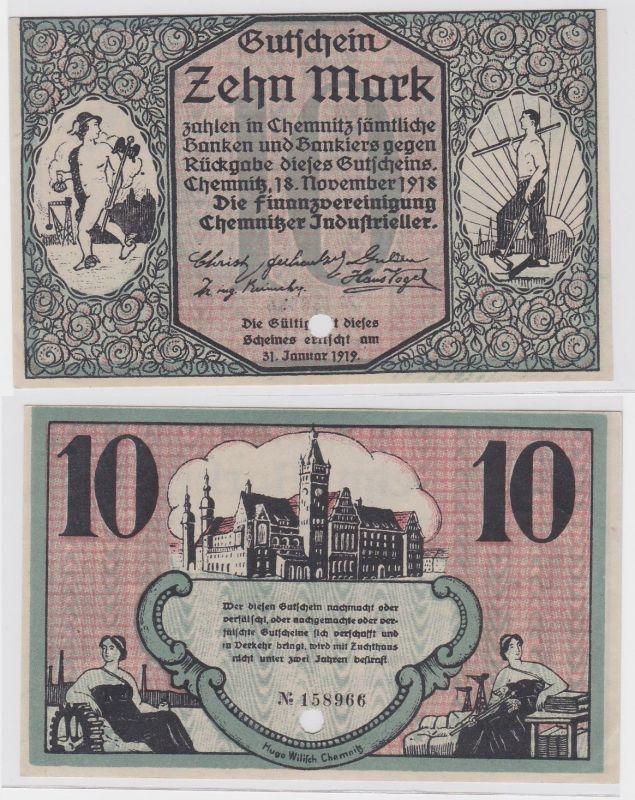 10 Mark Banknote Finanzvereinigung Chemnitzer Industrieller 18.11.1918 (121803)
