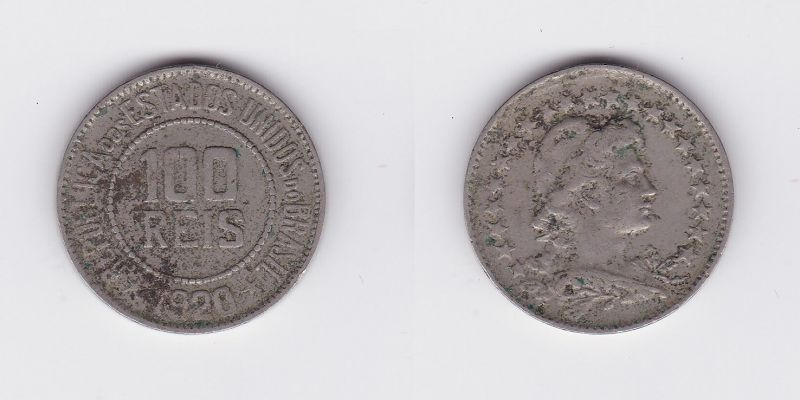 100 Reis Kupfer Nickel Münze Brasilien 1920 117711 Nr