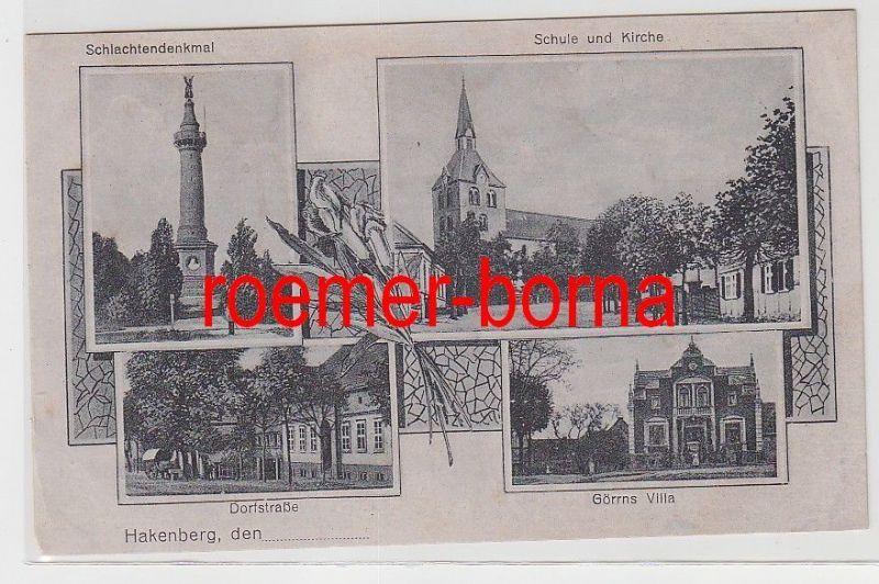 82924 Mehrbild Ak Gruß aus Hakenberg Dorfstraße usw. um 1920