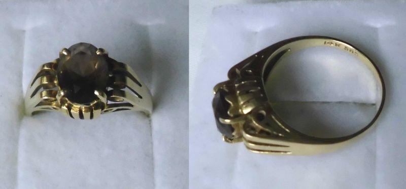 Dekorativer Damenring 585er Gold mit Rauchquarz (119431)