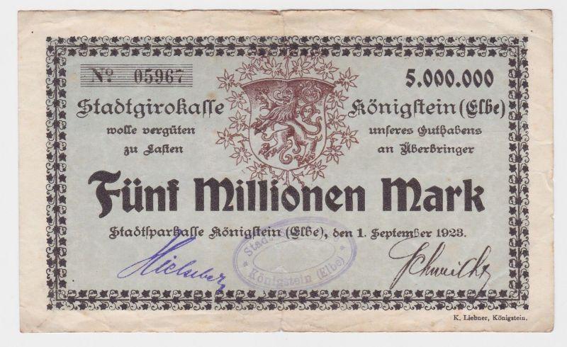 5 Millionen Mark Banknote Stadtgirokasse Königstein Elbe 1.9.1923 (121432)