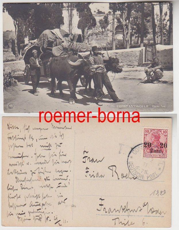 82045 Foto Ak Constantinople Büffel-Wagen, Deutsche Post in der Türkei 1911