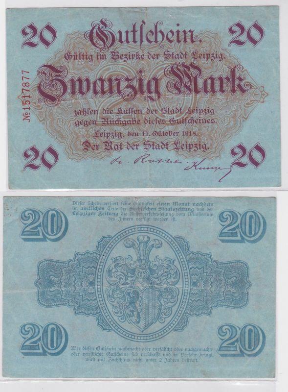 20 Mark Banknote Notgeld Stadt Leipzig 17.10.1918  (121585)