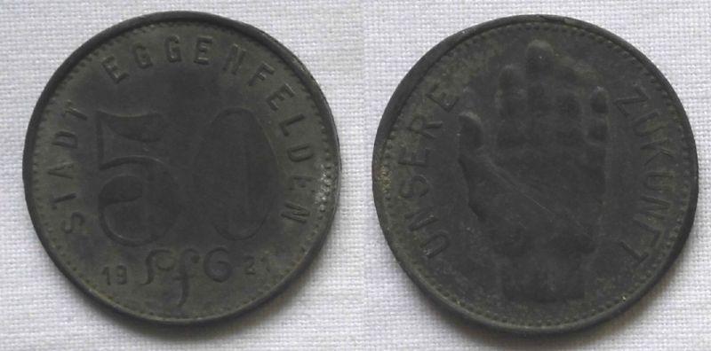 50 Pfennig Zink Münze Notgeld Stadt Eggenfelden 1921 (122981)