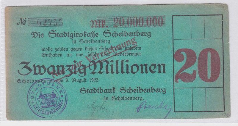 20 Millionen Mark Banknote Stadtgirokasse Scheibenberg 8.8.1923 (118807)
