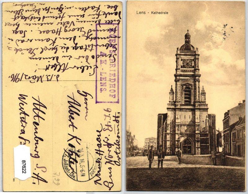 87622 AK Lens - Kathedrale, Korps-Friedhof A.K. Lens 7. Infanterie Division 1916