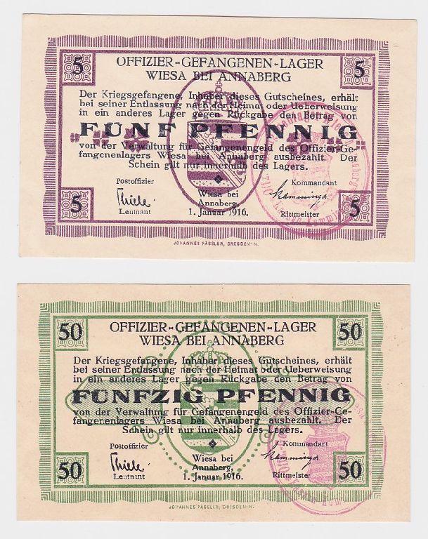 5 & 50 Pfennig Banknoten Offiz.Gefangenenlager Wiesa bei Annaberg 1916  (118684)
