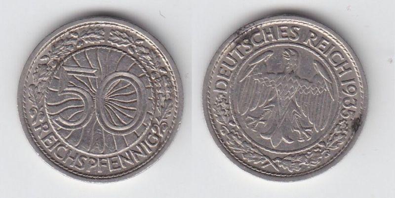 50 Pfennig Nickel Münze Weimarer Republik 1935 A (107033)