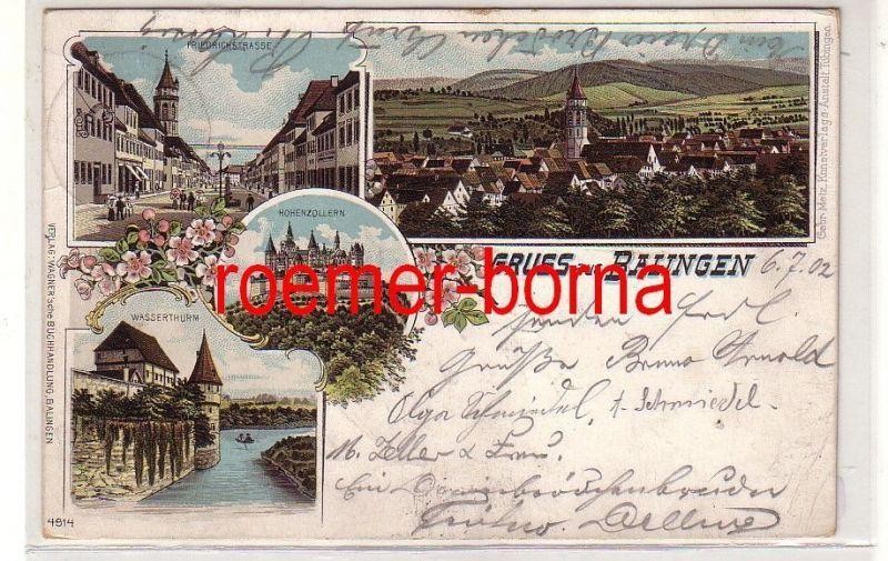 78266 Ak Lithografie Gruss aus Balingen Friedrichstrasse, Wasserthurm usw. 1902