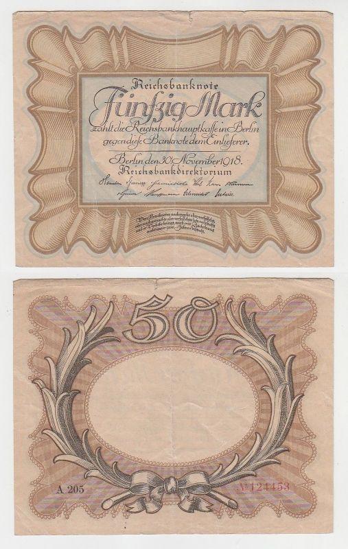 50 Mark Banknote 1918 Deutsches Reich Rosenberg 57a Eierschein (112490)