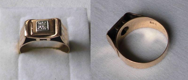 Eleganter Herrenring 585er Gold mit schönem Diamanten (118771)