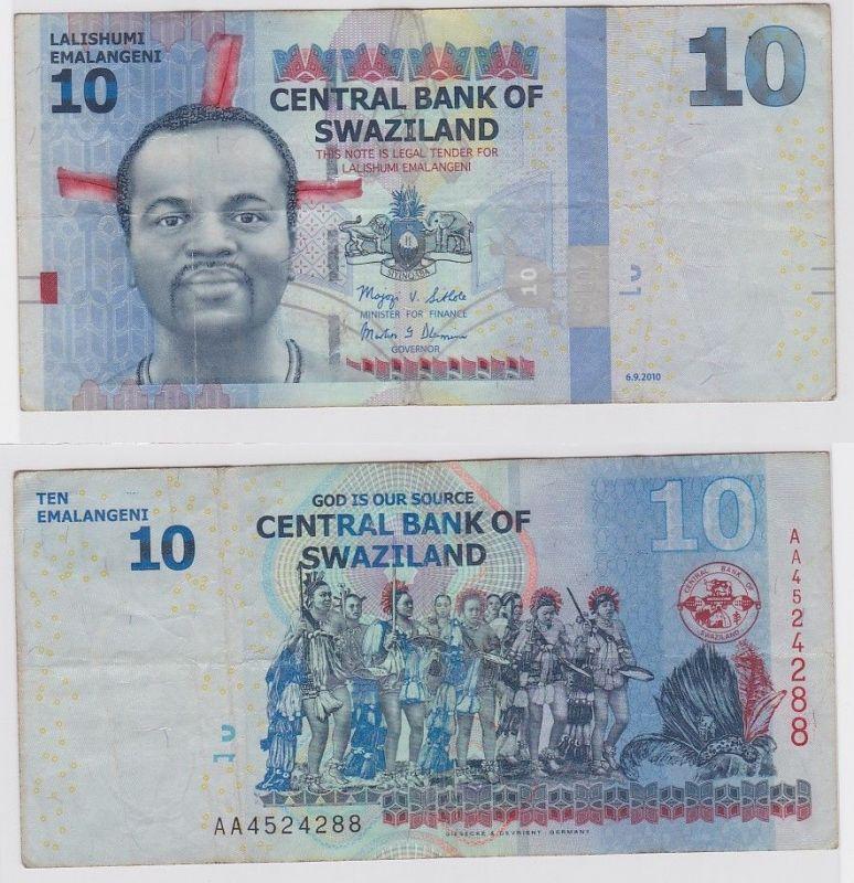 10 Emalangeni Banknote Swaziland 6.9.2010 (123366)
