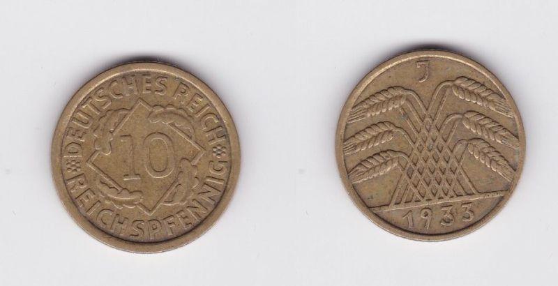10 Reichspfennig Messing Münze Deutsches Reich 1933 J, Jäger 317 (119757)