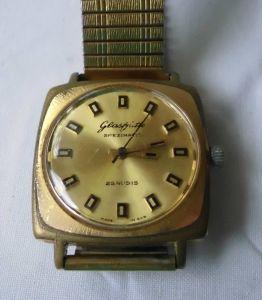 Vergoldete Herren Armbanduhr Marke Glashütte Spezimatic (116730)