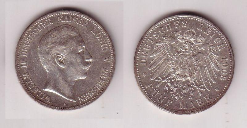 5 Mark Silbermünze Preussen Wilhelm Ii 1903 A Jäger 104 114946 Nr