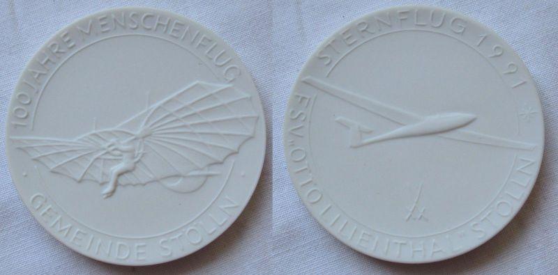 Meissner Porzellan Medaille Sternflug 1991 FSV