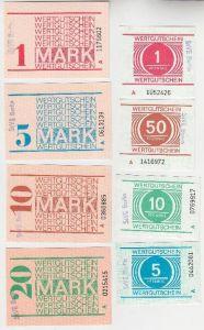 Kompletter Satz DDR 8 Banknoten Gefängnisgeld StVE Waldheim Serie B (116502)