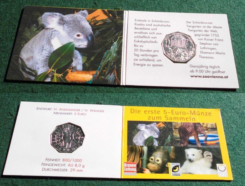 5 Euro Silber Münze Österreich 2002 250 Jahre Tierpark Schönbrunn (120922)