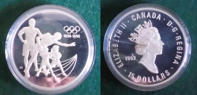 15 Dollar Silbermünze Kanada 100 Jahre Olympische Spiele 1992 (125772)