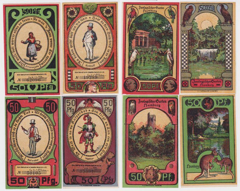 4 Banknoten Notgeld Hamburg Zoologischer Garten o.D. (1922) (121831)